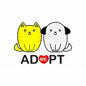 Vector flat cartoon illustration icon design.Adopt me. Dont buy. Dog Cat Pet adoption. Puppy pooch kitty cat looking up to red heart.Help homeless animal concept. Isolated on white background poster