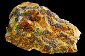 Blue mineral lazurite isolated on black background. poster