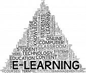 E-learning and education concept in tag cloud on white background poster