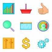 Great effort icons set. Cartoon set of 9 great effort vector icons for web isolated on white background poster