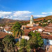 Colonial town cityscape of Trinidad, Cuba. Museo Nacional de la Lucha Contra Bandidos in Iglesia y Convento de San Francisco (Saint Francisco church). UNESCO World Heritage Site. poster