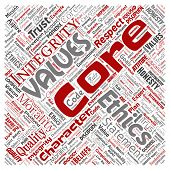 Conceptual core values integrity ethics square red concept word cloud isolated background. Collage of honesty quality trust, statement, character, perseverance, respect and trustworthy poster