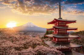 Mount Fujisan Beautiful Landscapes On Sunrise. Fujiyoshida, Japan At Chureito Pagoda And Mt. Fuji In