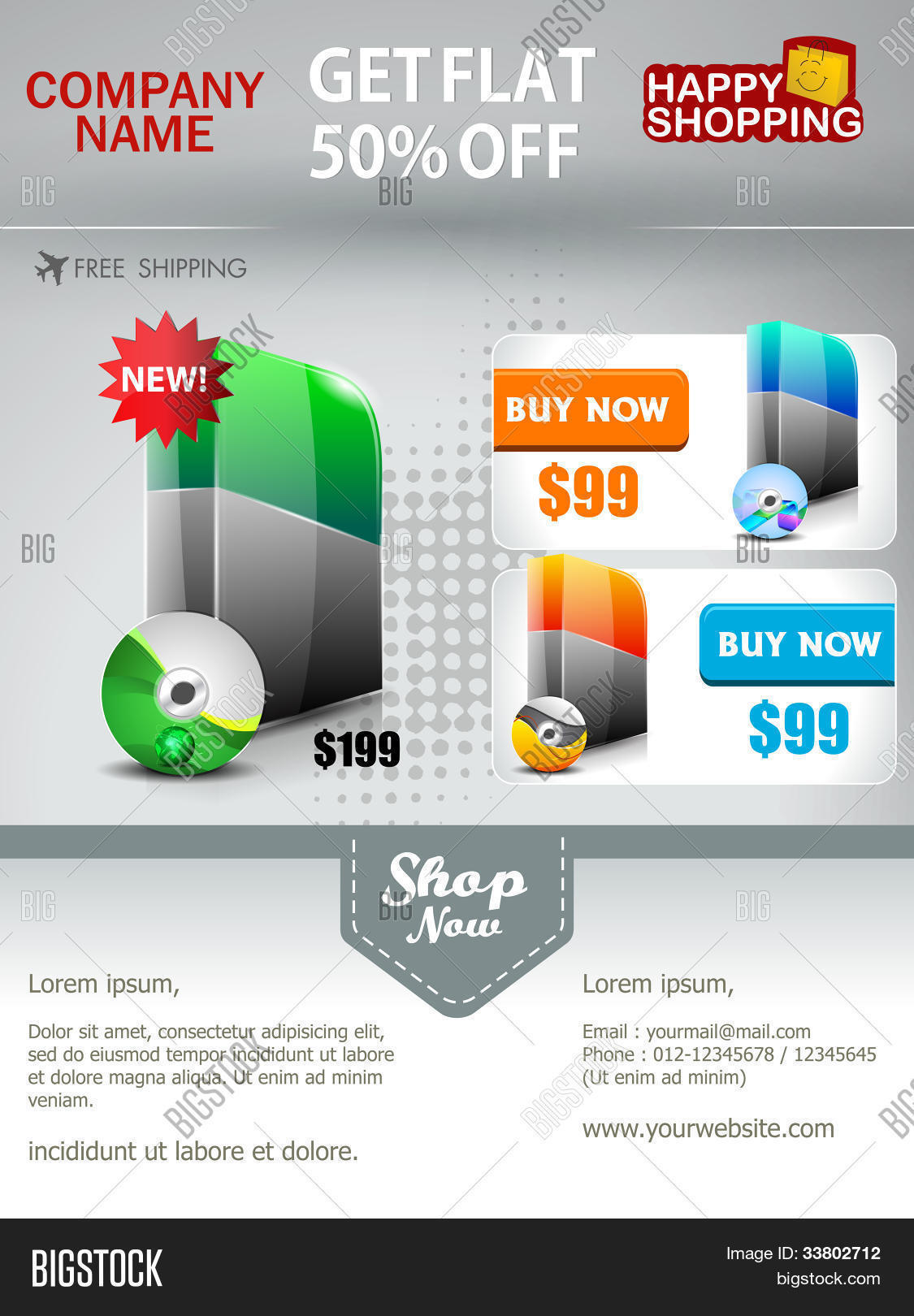 Professional Product Vector Photo Free Trial Bigstock - Promotional mailer template