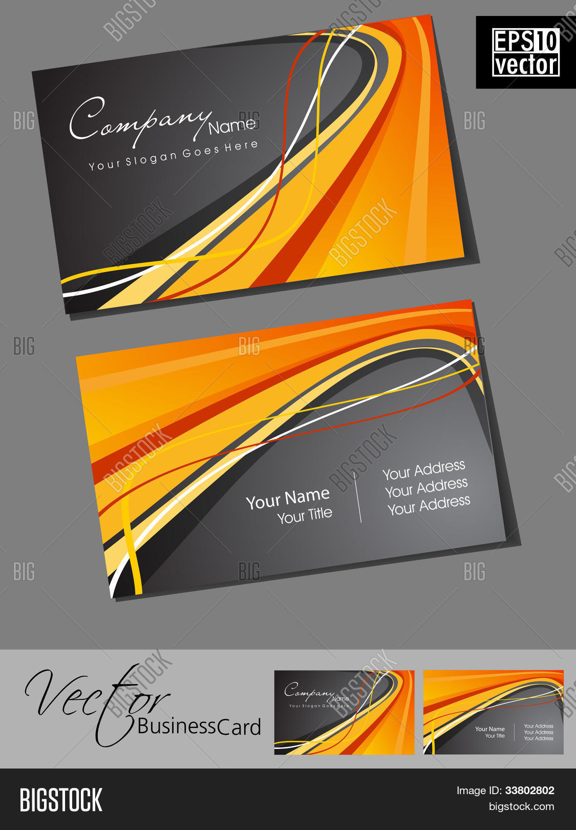 Abstract professional vector photo free trial bigstock abstract professional and designer business card template or visiting card set with grey and orange color reheart Image collections