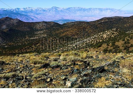 Arid Field On A Desolate Mountain Plateau Taken In The Barren White Mountains, Ca