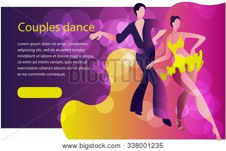 Beautiful Couple Dancing Latin American Dance Of Cha-cha-cha. Banner Or Invitation Template In Brigh