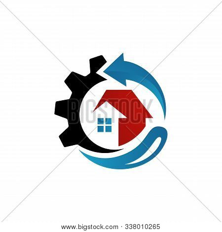 Rebuilding House Restoring Home Repair Logo Vector. Tools And Roof Sign. Symbol Of Construction Conc