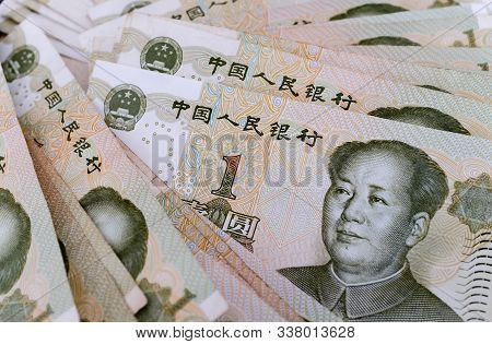 China Rmb 1 Dollar Cash Close Up Detail View
