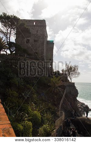 Monterosso, Italy - April 2 2018: The View Of Aurora Tower Of Monterosso Castle In The National Park