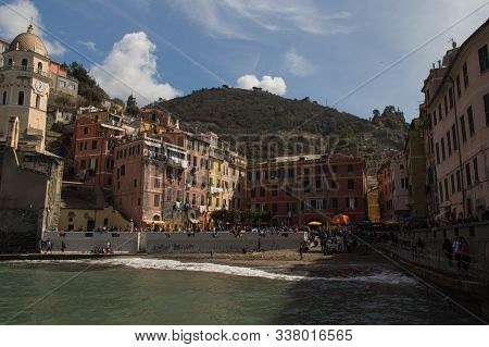 Vernazza, Italy - April 2 2018: The View Of The Dock In Vernazza In The National Park Of Cinque Terr
