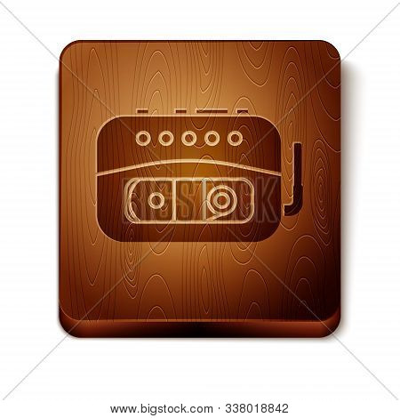Brown Music Tape Player Icon Isolated On White Background. Portable Music Device. Wooden Square Butt