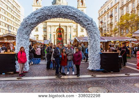Budapest, Hungary - November 21, 2019: Christmas Market At St. Stephens Square In Front Of The St. S