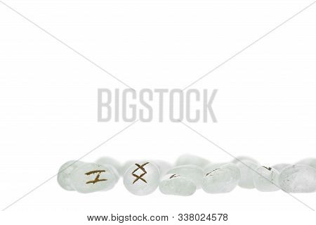 Group Of Crystalline Runes Isolated On A White Background
