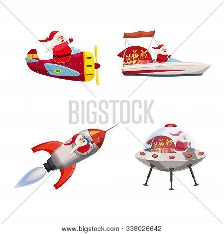 Set Of Santa Claus Of Different Types Of Transport Vehicles Boat, Plane, Rocket, Ufo. Vector, Illust