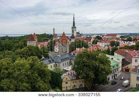 Tallinn, Estonia - July 29, 2017:  Aerial Cityscape With Medieval Old Town, St. Olaf Baptist Church