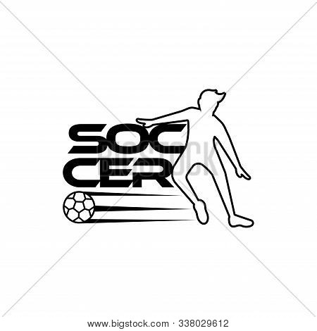 Soccer Vector Illustration Of A Silhouette Soccer Or Football Player Isolated On White Background. S