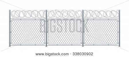 Chain Link Fence With Barbed Wire. Metal Chainlink Construction With Barbwire Or Barb, Bobbed Or Bob
