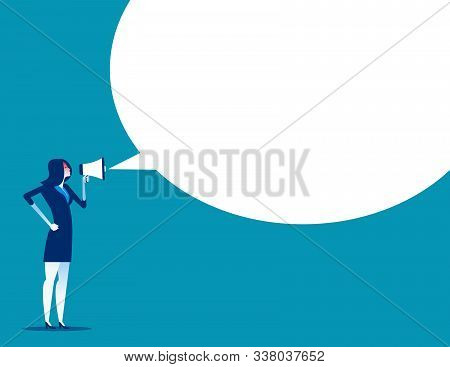 Angry Woman Is Shouting Through Megaphone. Concept Business Vector, Enraged Boss, Discontent, Furiou