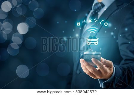 Intelligent Car, Intelligent Vehicle And Smart Cars Concept With Smart Phones. Symbol Of The Car And