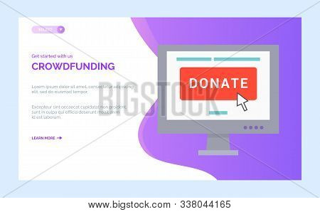 Crowdfunding Charity Project With Computer Screen And Open Page With Donate Button. Vector Nonprofit