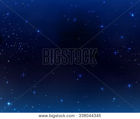 Space Background, Galaxy Universe, Sky Dark Blue Abstract Backdrop With Stars And Cosmic Nebula. Sta