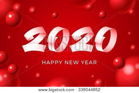 2020 Happy New Year Background. Numeral Text Calligraphy Banner. Abstract White Red Balls 3d Blurry