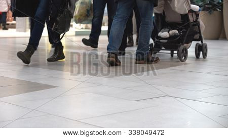 The Movement Of People In The Trading Floor. Crowd Foots Walking In At A Floor. Blurred Background