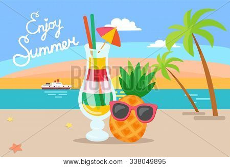 Coastal View, Summer Vacation Vector. Beverage In Glass, Ship And Sunset Palm Tree And Leaves Decora