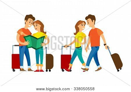 Couple Traveling Vector, Man And Woman With Luggage Walking. Arrived People Strolling, Lost Male And