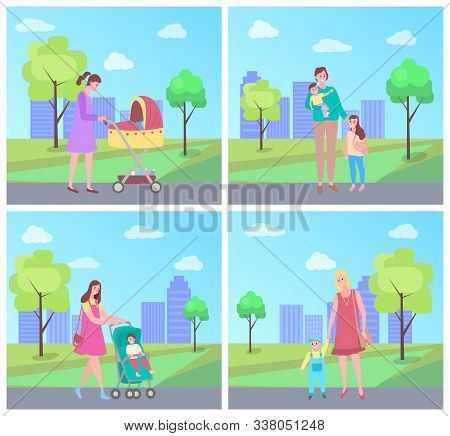 Mother And Children Vector, Baby Sitting In Perambulator, Family Day. City Park With Trees And Green