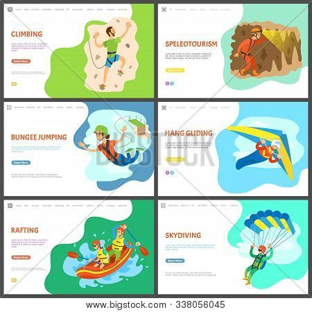 Skydiving And Speleotourism Vector, Activities Of People, Summer Rafting And Wall Climbing, Bungee J