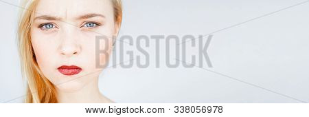 Anger, Offence. Annoyed, Mad, Disappointed Woman Smooth Face Skin Red Lips