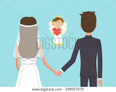 Angelic Child Boy With Heart Vector, Man And Woman Holding Hands Flat Style. Marriage Of Bride And G