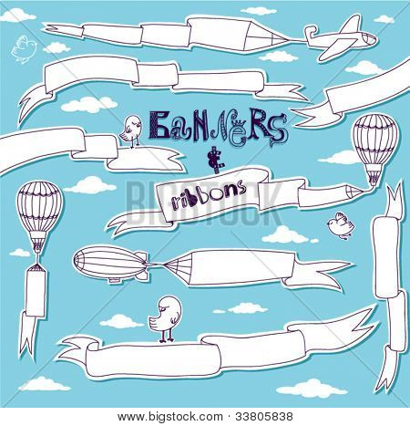 Doodle Banners and Ribbons - Set of hand drawn banners and ribbons carried by the planes, hot air balloons and blimps