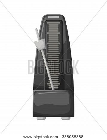 Metronome With Pendulum In Motion, Metal Equipment Of Music And Beat Mechanism Vector. Black Science