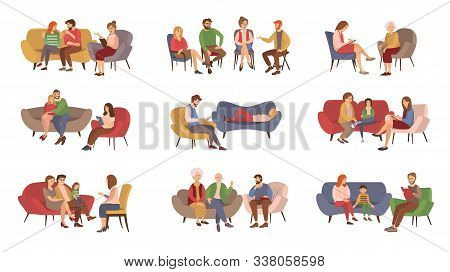 Psychotherapist Services, Psychotherapy Session Vector. Couples And Families, Kids And Teenagers Or