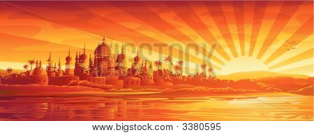 Golden City Under Golden Sky