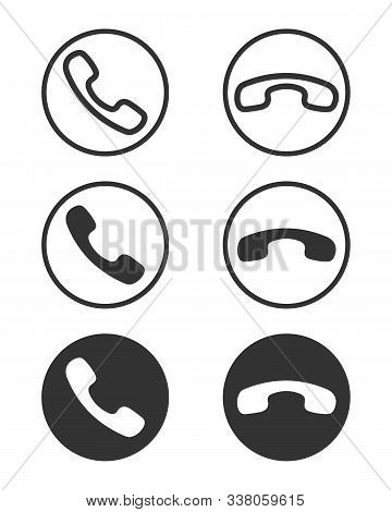 Phone Handsets Graphic Signs Set. Call And Finish The Call Icons In The Circle Isolated On White Bac