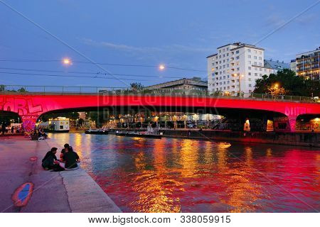 VIENA, AUSTRIA, 15 SEPTEMBER, 2019: Evening life in Viena, most livable city in the world and capital of Austria, Europe