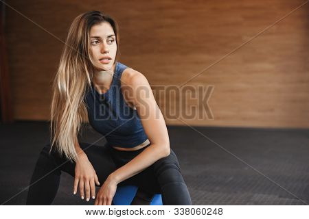 Sport, Fitness And Endurance Concept. Gorgeous Young Fitness Insctructor, Sportswoman In Activewear