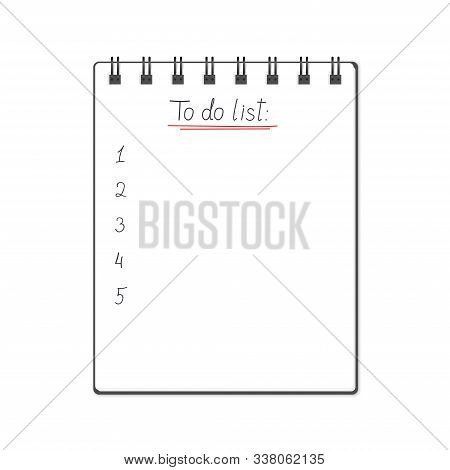 Vector Illustration Of Block Note With To Do List Text Sign. Realistic Block Note With To Do List An