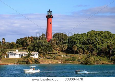 Jupiter Inlet Lighthouse From Across The Water In Jupiter, Florida