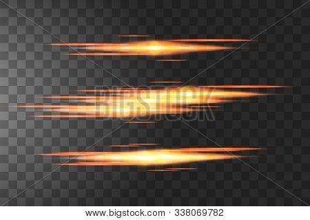 Golden Horizontal Lens Flares Pack. Laser Beams, Horizontal Light Rays.beautiful Light Flares. Glowi