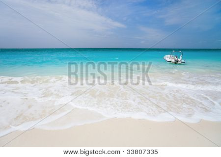 Beautiful beach at Caribbean Providenciales island in Turks and Caicos