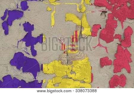 Andorra flag depicted in paint colors on old obsolete messy concrete wall closeup. Textured banner on rough background poster