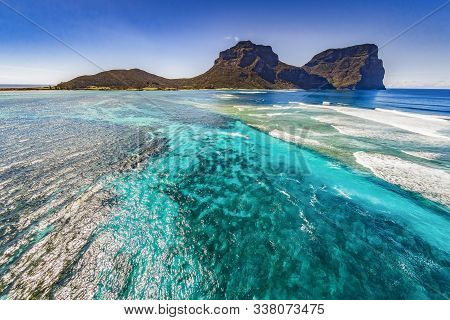Aerial View Of Lord Howe Island Coasts, Turquoise Blue Coral Reef Lagoon, The Tasman Sea, Between Au