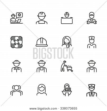 Professionals Line Icon Set. Set Off Line Icons On White Background. Doctor, Engineer, Builder. Job