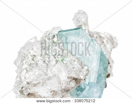 Mineralogical Specimen Comprising From Crystals Of Blue Datolite And Transparent Apophyllite Isolate