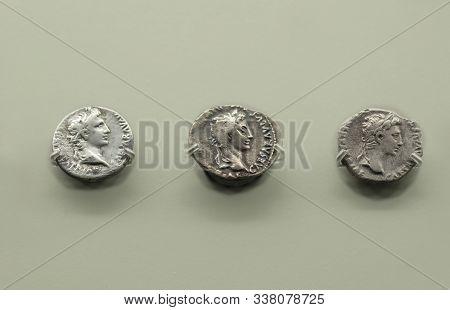 Merida, Spain - August 25th, 2018: Octavius Augustus Roman Emperor Silver Coins. National Museum Of